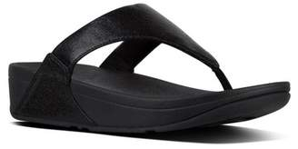 FitFlop Lulu Faux Leather Thong Wedge Sandal