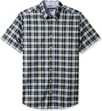 Nautica Men's Big and Tall Wrinkle Resistant Short Sleeve Plaid Button Down Shirt