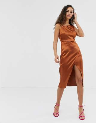 Outrageous Fortune satin asymmetric shoulder dress in chocolate