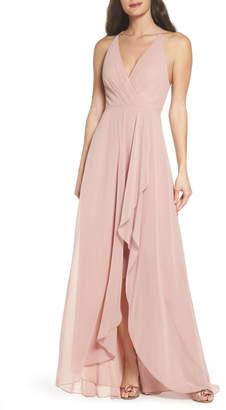 Jenny Yoo Farrah Ruffle Chiffon Gown
