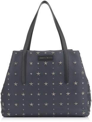 Jimmy Choo PIMLICO/S Navy and Slate Grainy Calf Leather Small Tote Bag with Crystal Stars
