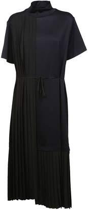 Jil Sander Navy Pleated Midi Dress