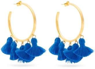 Marte Frisnes - Raquel Gold Plated Tassel Hoop Earrings - Womens - Blue