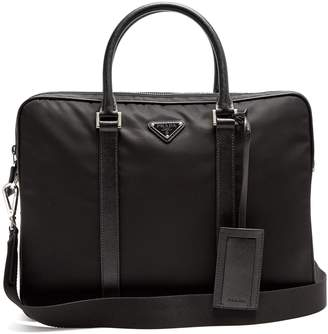 Prada Leather-trimmed nylon briefcase