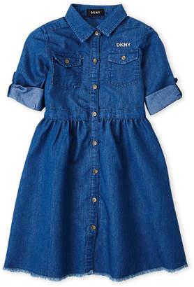 DKNY Girls 4-6x) Chambray Fit & Flare Shirtdress
