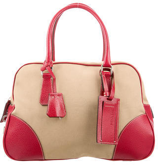 prada Prada Canapa & Leather Bowling Bag