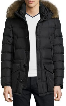 Moncler Cluny Nylon Puffer Jacket with Fur Hood, Navy $1,670 thestylecure.com
