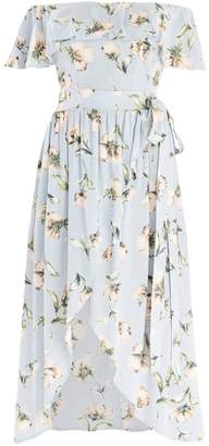 Bardot PAISIE - Floral Print Dress With Skirt Overlay & Side Tie
