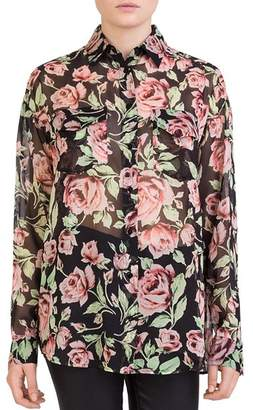The Kooples Silk Rose-Print Shirt