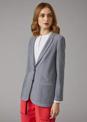 Giorgio Armani Single Breasted Striped Jacket