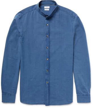 Brunello Cucinelli Slim-Fit Grandad-Collar Cotton-Chambray Shirt