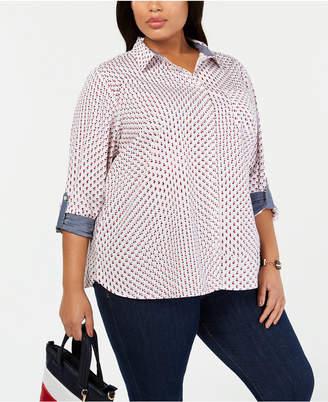 Tommy Hilfiger Plus Size Cotton Star-Print Shirt
