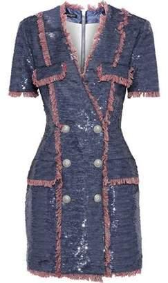 Balmain Button-Embellished Fringed Sequined Satin Mini Dress