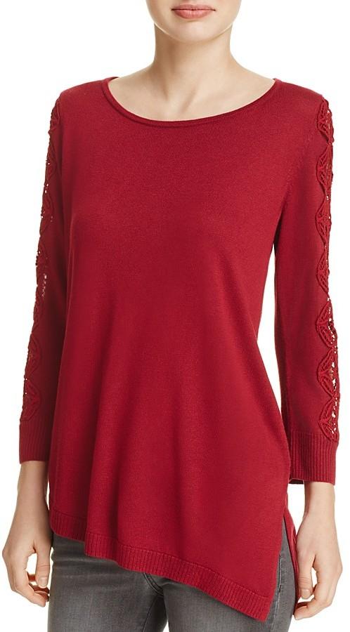 Love Scarlett Lace Sleeve Asymmetric Sweater - 100% Exclusive