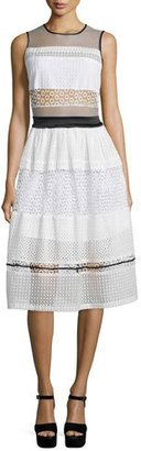 Kendall + Kylie Sleeveless Pierced Mixed-Lace Dress, White $298 thestylecure.com