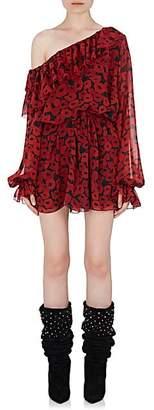 Saint Laurent Women's Ruffle Silk Off-The-Shoulder Dress - Black, Red