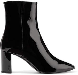 Saint Laurent Lou Patent-leather Ankle Boots - Black