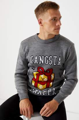 Next Mens Boohoo Man Gangsta Wrapper Christmas Jumper