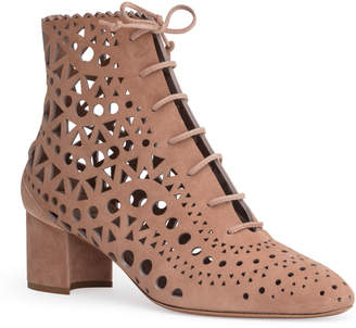 Alaia Beige 50 suede cut out boots