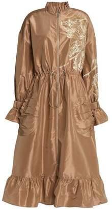 Sachin + Babi Ruffle-Trimmed Embroidered Silk-Taffeta Raincoat