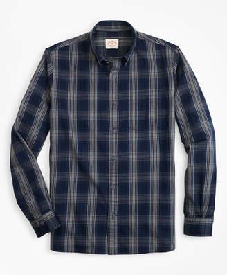 Brooks Brothers Indigo-Dyed Plaid Twill Sport Shirt
