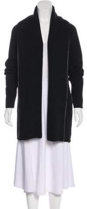 Vince Leather-Trimmed Wool-Blend Cardigan