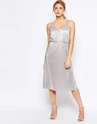 Oasis Metallic Midi Cami Dress with Tie Belt $106 thestylecure.com