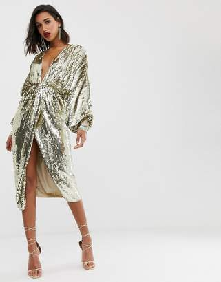 Asos Edition EDITION batwing midi dress in sequin
