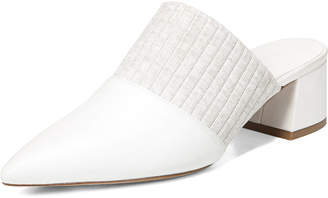 Vince Raven Leather Mule with Pleated Strap, White