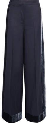 J.Crew Laney Velvet-trimmed Wool Wide-leg Pants - Navy