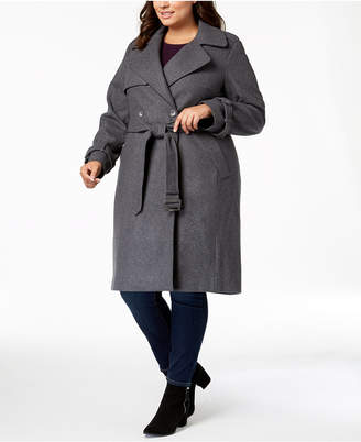 DKNY Plus Size Double-Breasted Coat, Created for Macy's