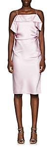 Helmut Lang Women's Gathered Satin Midi-Dress - Rose
