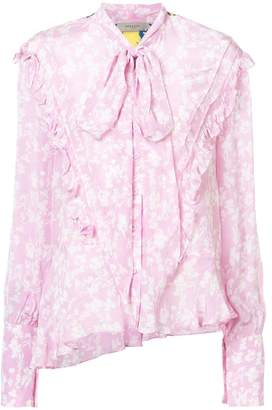 Preen by Thornton Bregazzi floral print and frill trim asymmetric blouse with pussy bow