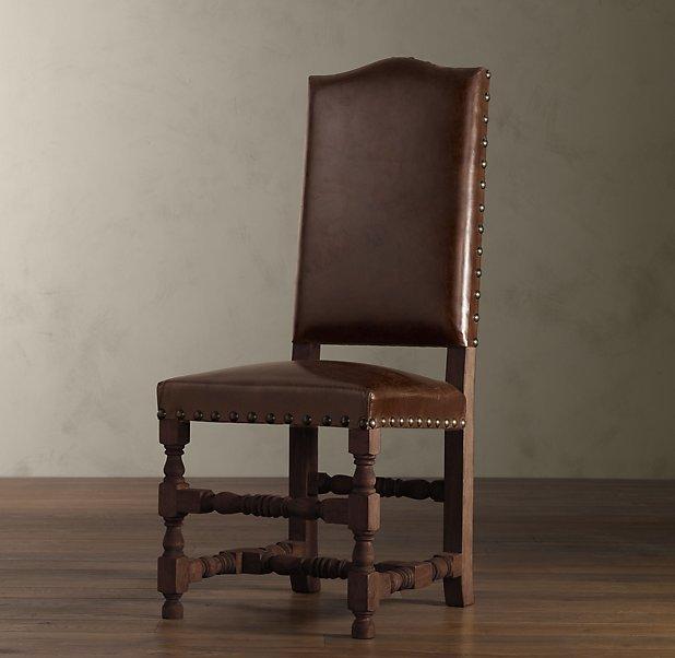 Louis XIV Baroque Leather Side Chair Brown Oak - 19