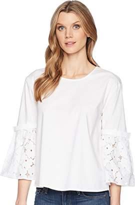 Ellen Tracy Women's Poplin Shirt with Flouncy Sleeves