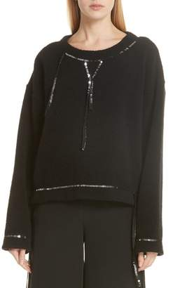 MM6 MAISON MARGIELA Sequin Trim Wool Blend Sweater