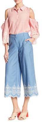 Laundry by Shelli Segal Crop Embroidered Pants