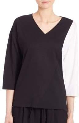 Lafayette 148 New York Punto Milano Colorblock Tech Cloth Top