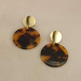 Apricot Tortoise Resin Hoop Earrings