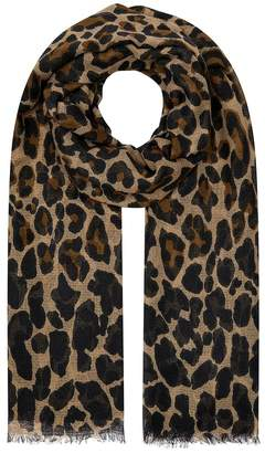 Accessorize Womens Leopard Retro Stole Scarf - Natural