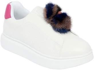 Colors of California Slip-On Sneakers W/ Mink Fur