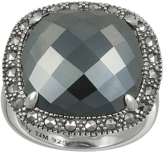 Swarovski Lavish By Tjm Lavish by TJM Sterling Silver Hematite Square Ring - Made with Marcasite