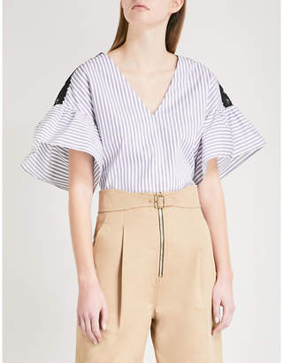 Sandro Flared-sleeve striped cotton top