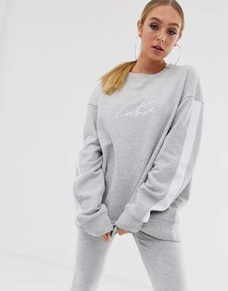Couture The Club oversized motif sweat top with side stripe in grey