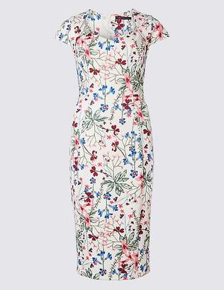 Marks and Spencer Floral Print Fuller Bust Bodycon Midi Dress