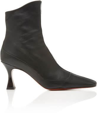 Atelier Manu Duck Patent Leather-Trimmed Ankle Boots Size: 36