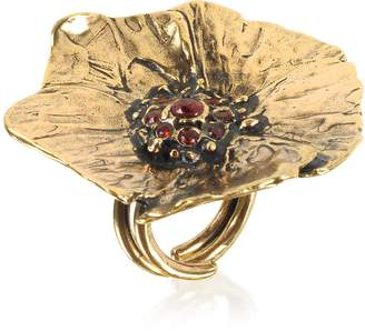 Alcozer & J Goldtone Brass Poppy Ring