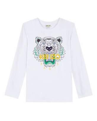 Kenzo Long-Sleeve Tiger Icon Tee, Size 14-16