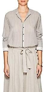 Pas De Calais Women's Striped Cotton Tunic Shirt-Beige, Tan
