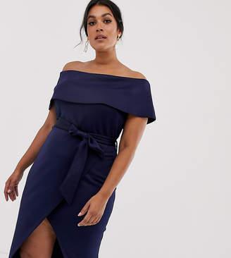 4d60171a13b7 Club L London Plus Plus bardot belted midi dress